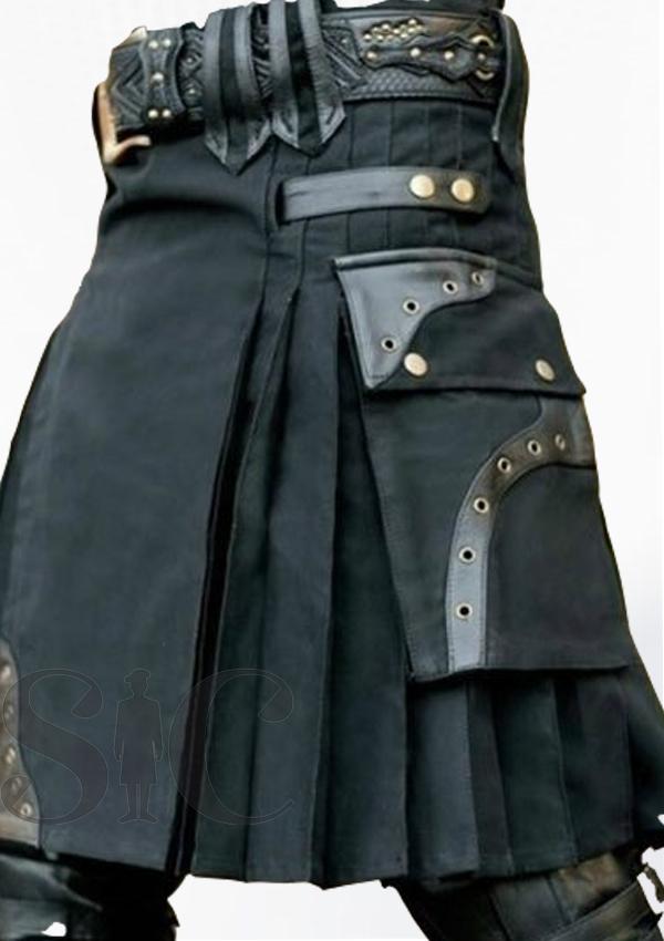 Best Quality Cargo Kilt Black Design 15