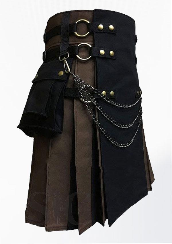 Black And Brown Fashion Hybrid Utility Kilt Design 20