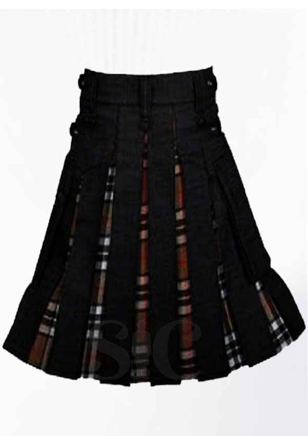 Campbell Tartan Black Denim Hybrid Utility Kilt Design 27