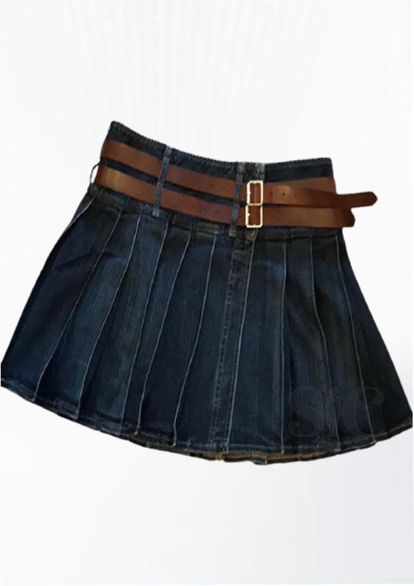 Denim Kilt For Women With Brown Leather Design 5
