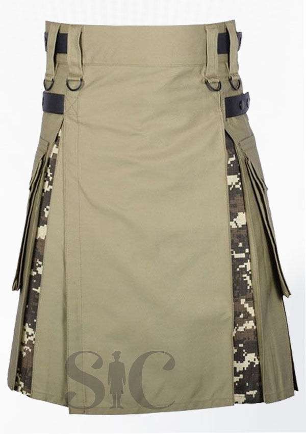 Digital Camo Khaki Cotton Hybrid Utility Kilt Design 19
