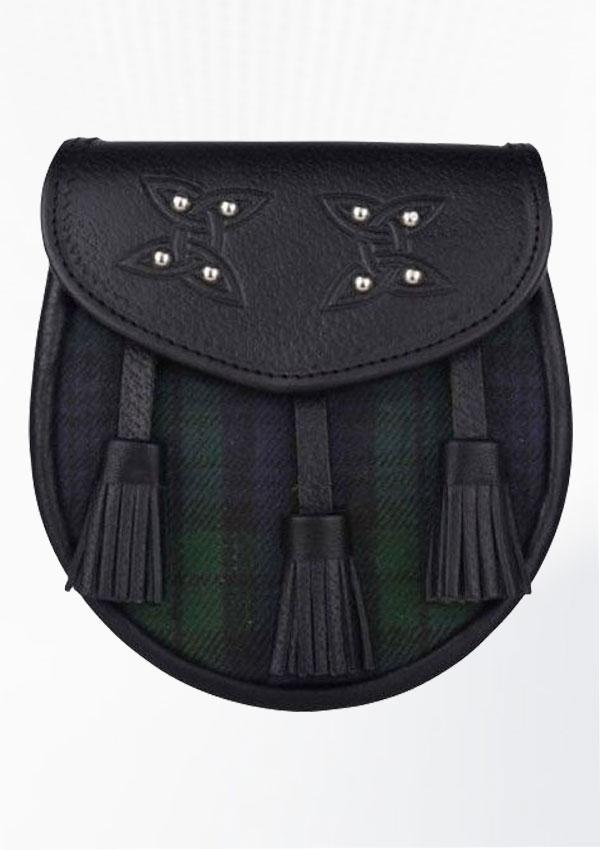 Genuine Leather With Black Watch Tartan Sporran Design 1
