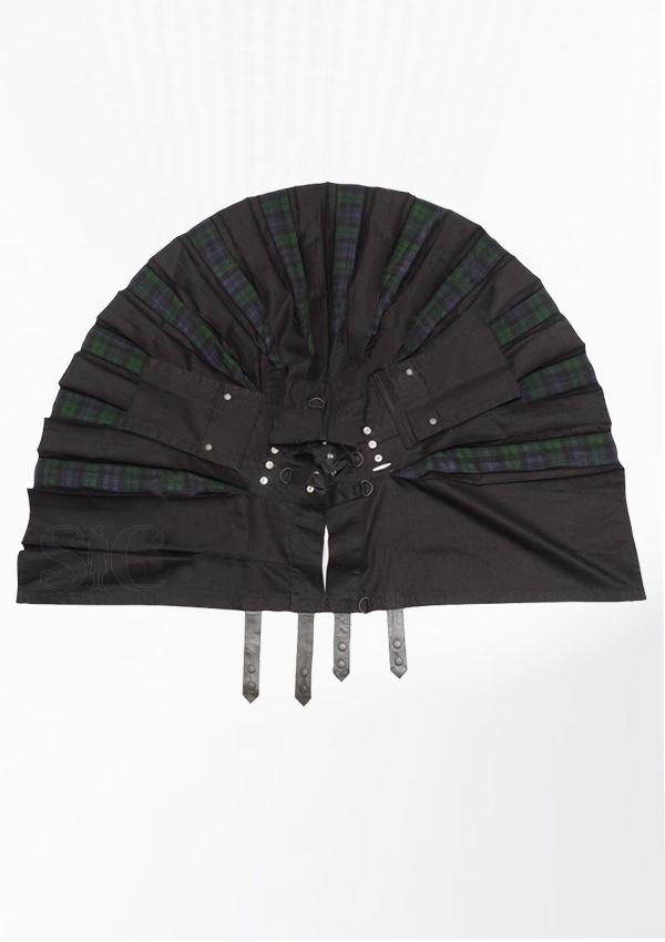 Hybrid Decent Black And Back Watch Tartan Box Pleat Utility Kilt Attached Pockets Design 60