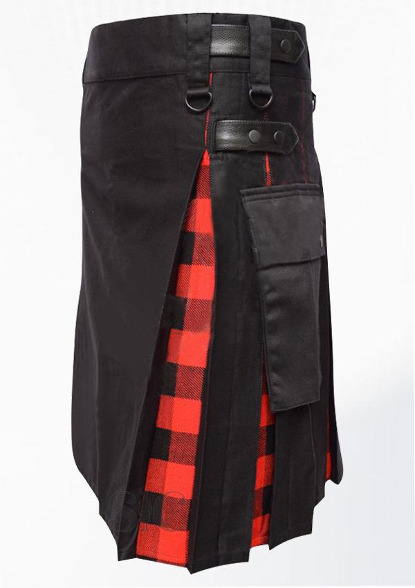 Hybrid Decent Black And Macgregor Rob Roy Tartan Box Pleat Utility Kilt Attached Pockets Design 66