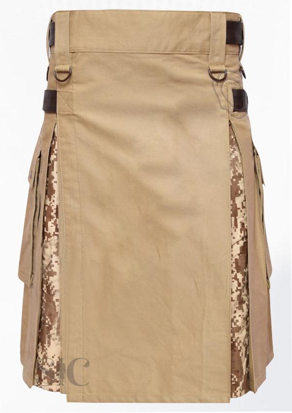 Hybrid Decent Khaki And Digital Camouflage Box Pleat Utility Kilt Attached Pockets Design 75
