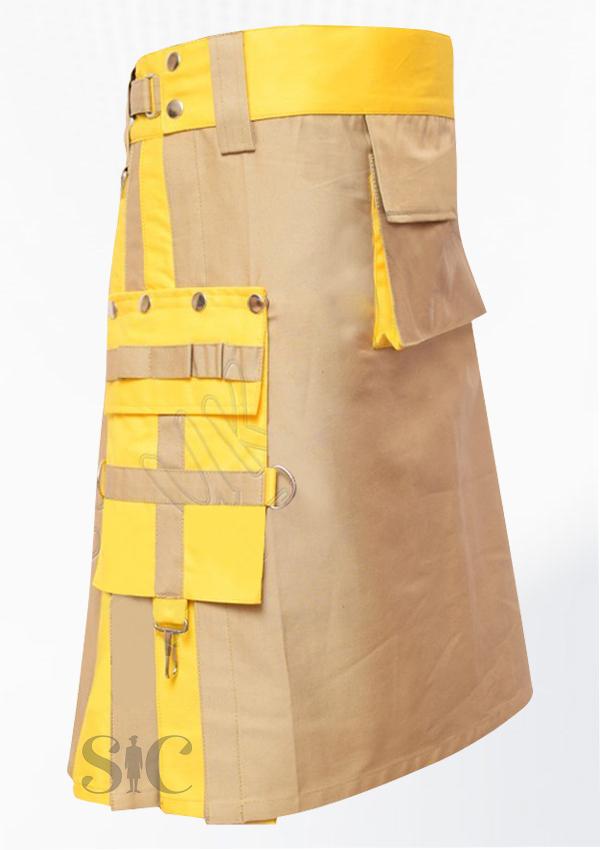 Khaki And Yellow Hybrid Two Tone Utility Kilts Design 69