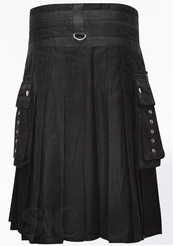 Men Fashion Black Wedding Utility Kilt Scotland Clothing Design 46