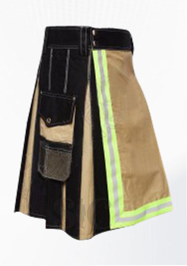 Men Khaki And Black Fire Fighter Green Color Tape Utility Kilt Design 13
