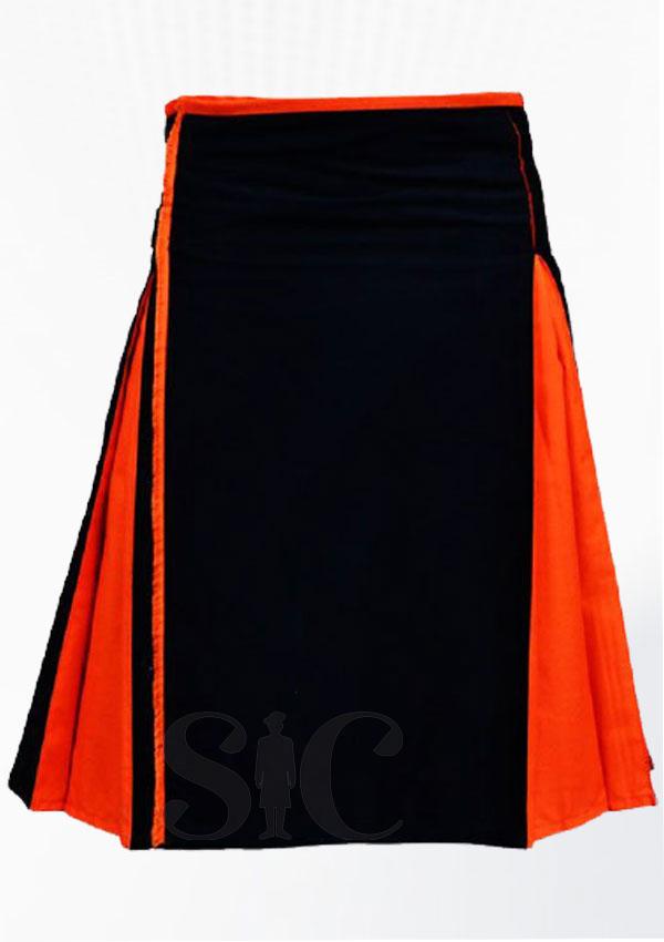 Orange Black Cotton Hybrid Utility Kilt Design 28