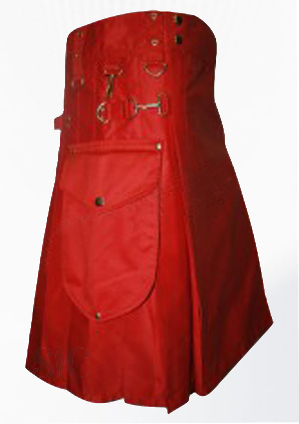 Red Colour Round Attached Pockets Utility Sports Casual Pocket Kilt Design 77