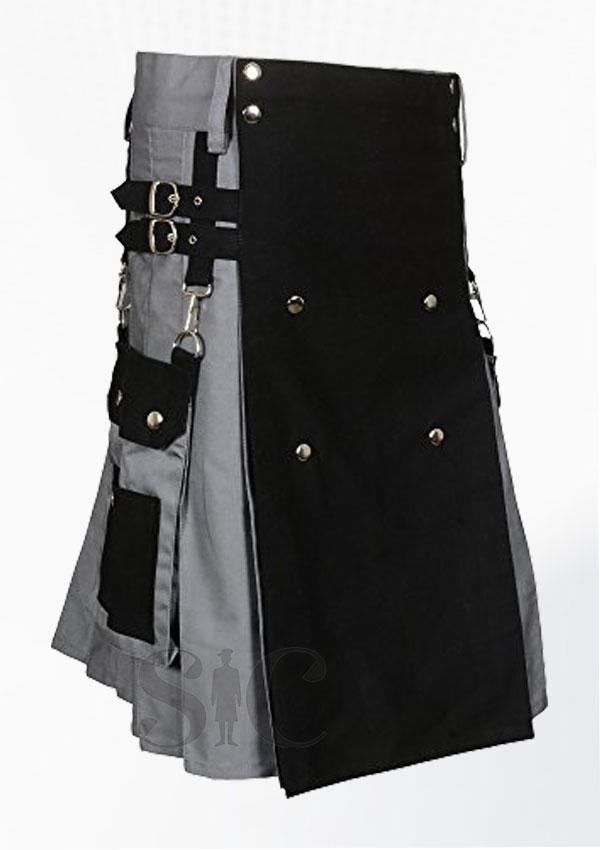 Scottish Black Gray Two Tone Utility Kilt Design 22
