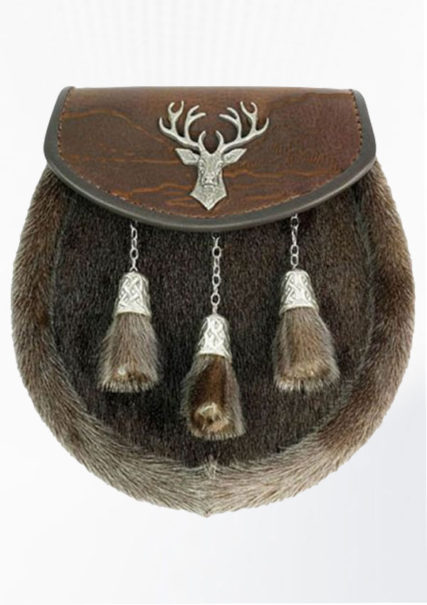 Seal Skin Sporran With Stag Badge Design 11