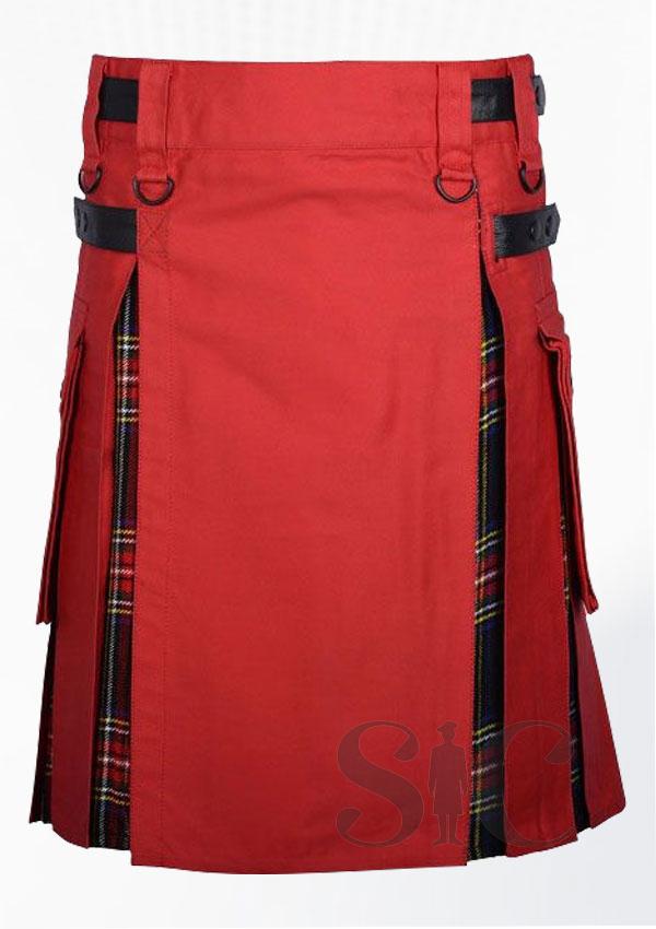 red Coton Black Stewart Tartan Hybrid Utility Kilt Design 18