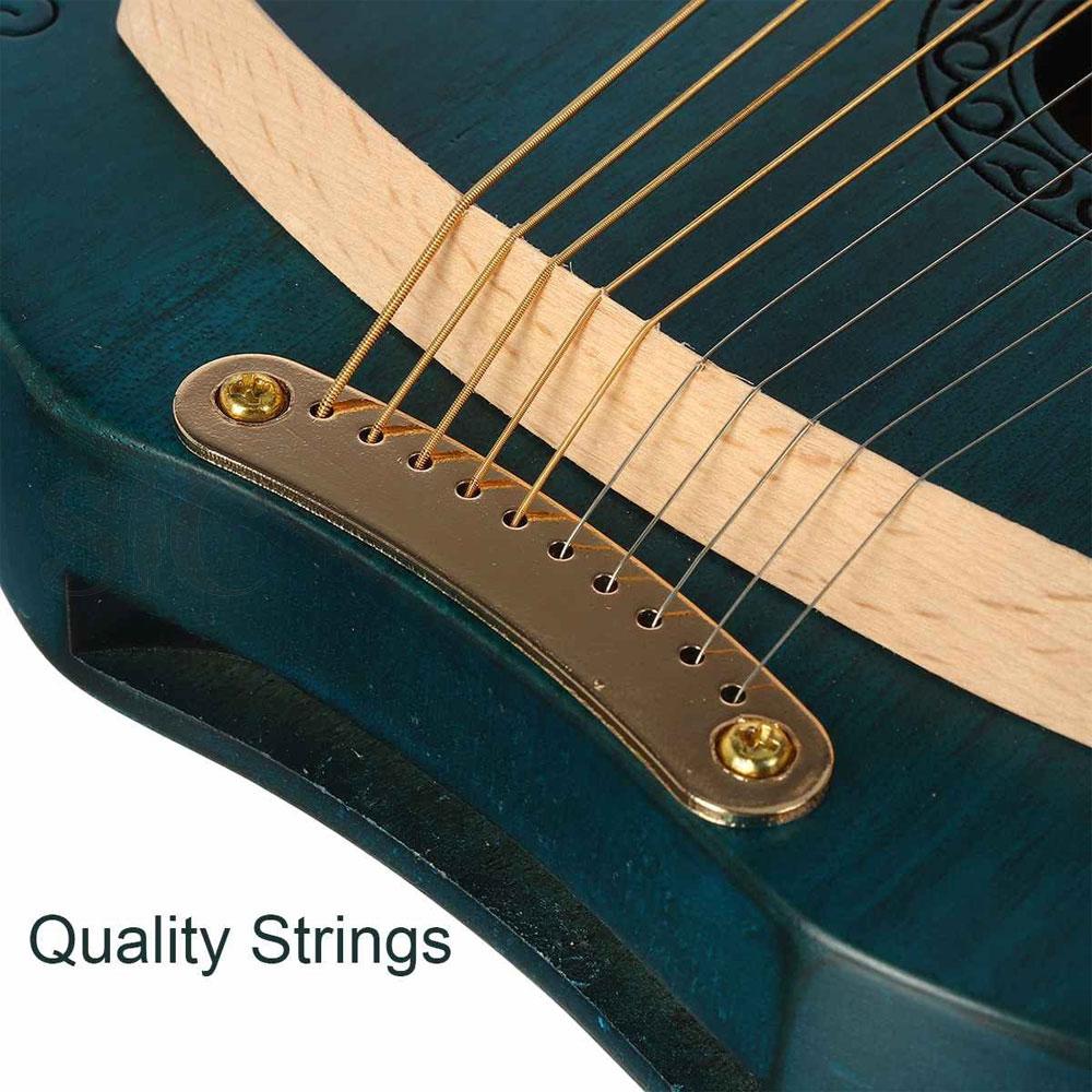 10 String Wood Lyre Harp Mahogany Solid Wood Stringed Musical Instrument Design 64