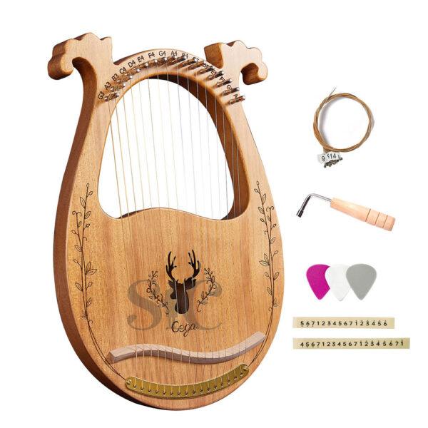 16 ciag drewniane Lyre harfa pudelko Design 44