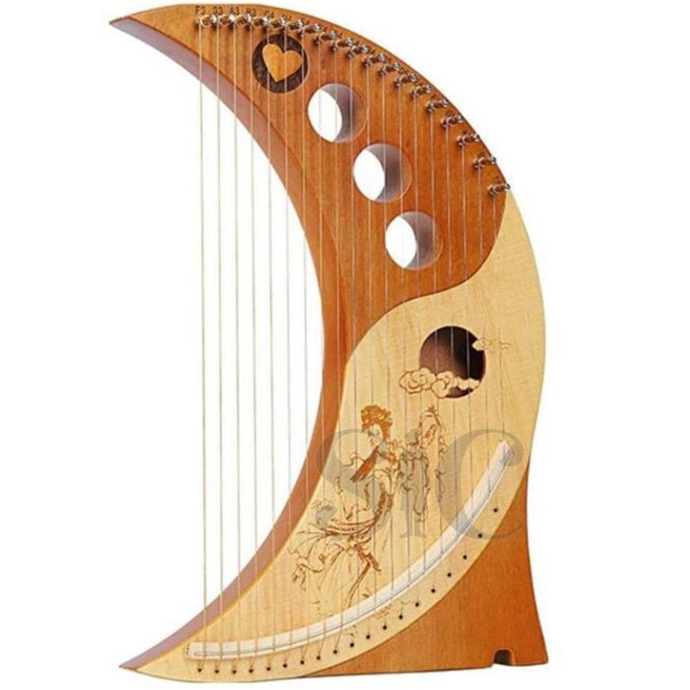 19 String Lyre Harp Lyakin Wooden Lyre Harp Wood the Moon Harps 19