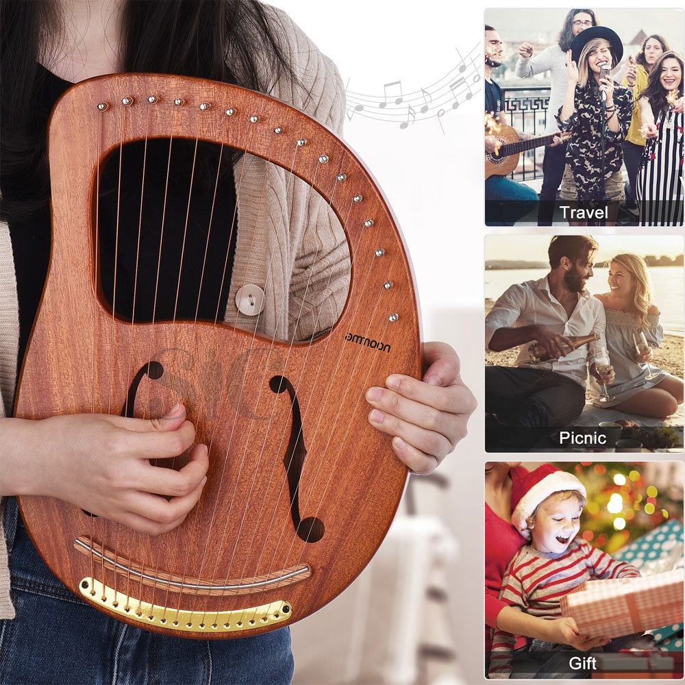 Ammoon 16 String Wooden Lyre Harp Metal Strings Solid Wood String Design 62
