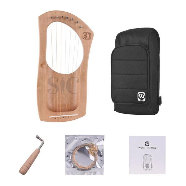 Walter.t Wooden Lyre Harp 7 String Metal Strings Design 67
