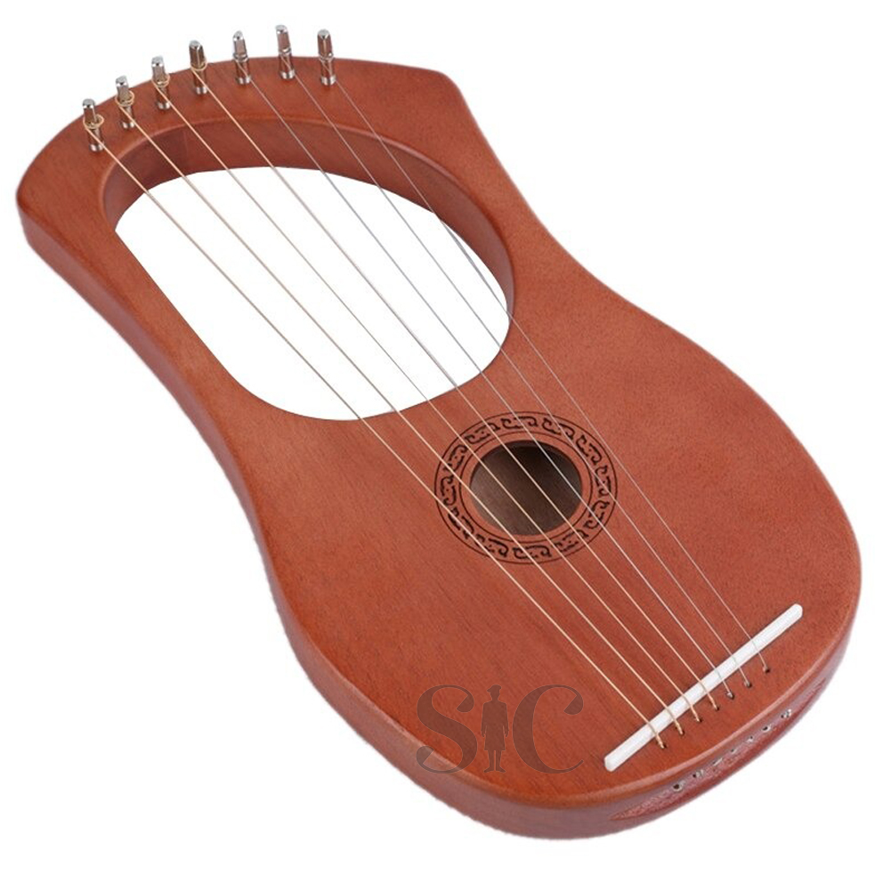 7 String Lyre Harp Strings Solid Mahogany Design 73