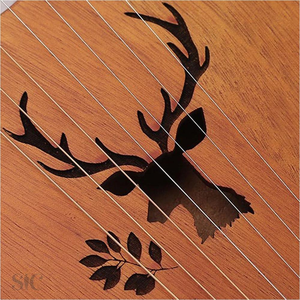 16 Note Lyre Harp Mahogany Design 86
