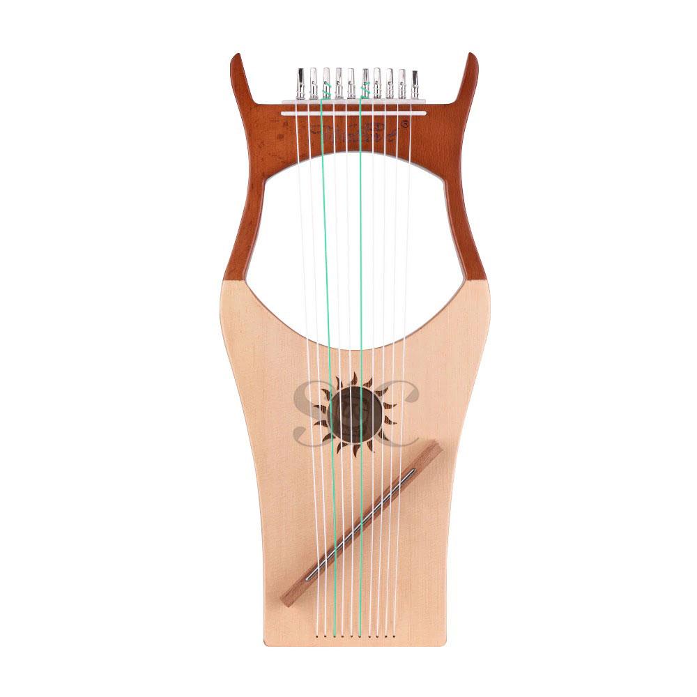 10 String Wooden Lyre Harp Nylon Strings Spruce Design 66