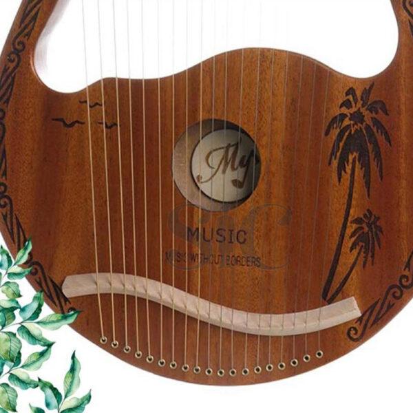 Cute Deer Head Shape Lyre Harp Portable Mahogany Wood 19 Strings Harp Design 24