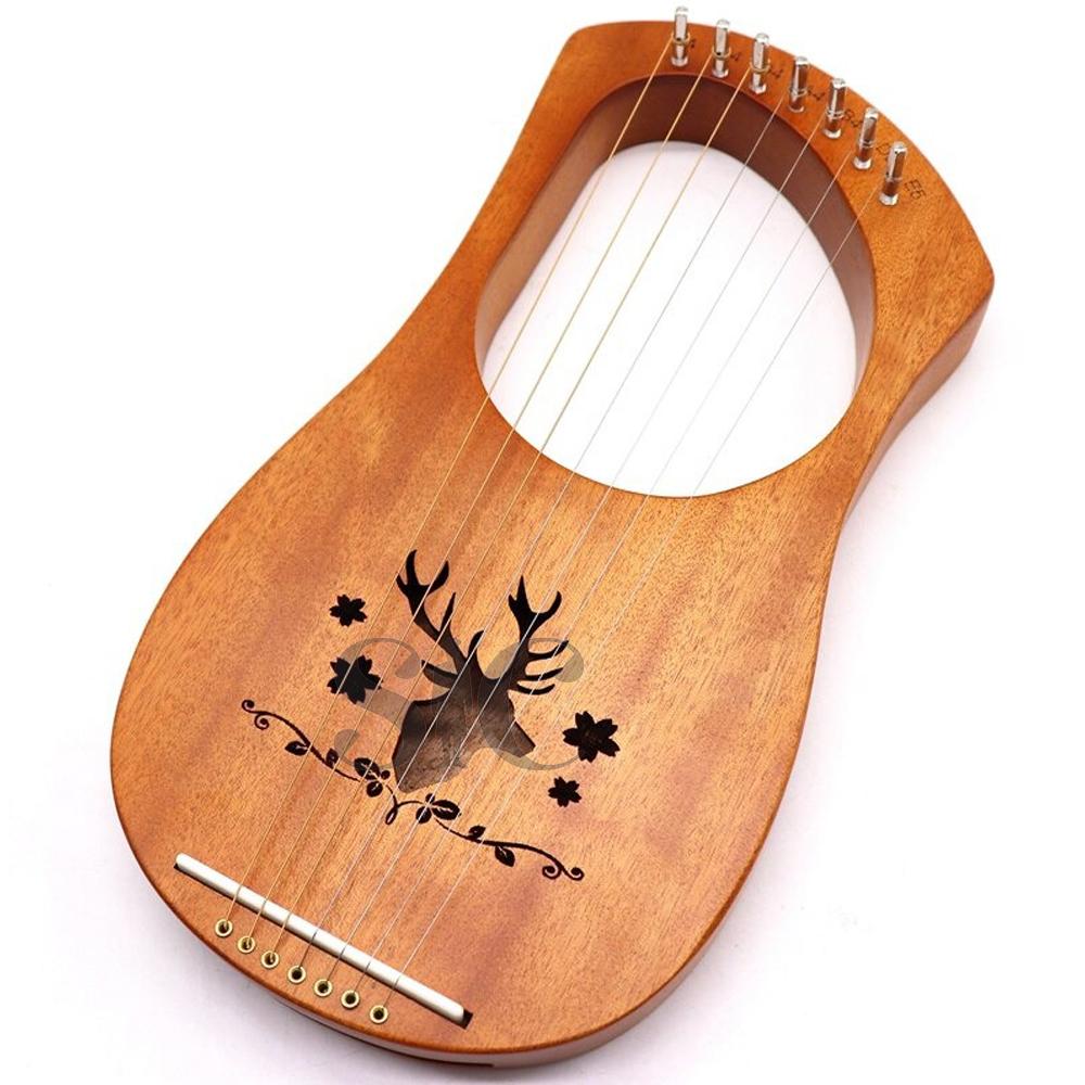 Strings Lyre Harp Okoume Wood Body Wooden Metal Design 2