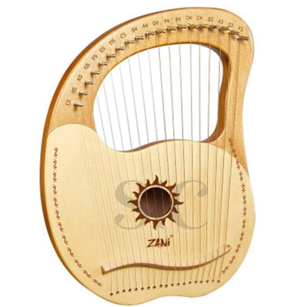 ZANi Lyre Harp,Greek Violin,19 String Mahogany Lyre Design 21